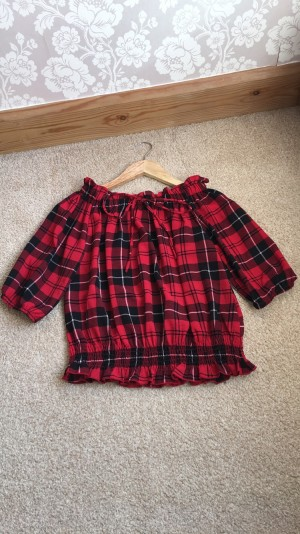 Quiz Red and Black Tartan Top Size 8