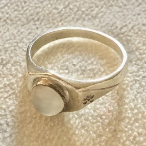 Vintage Moonstone Silver Ring Size O