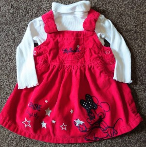 red Minnie mouse 3-6 month dunagree dress