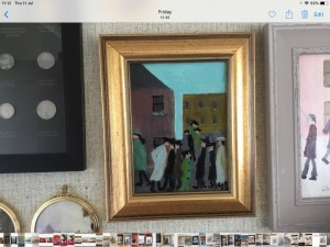 Oil painting on canvas signed after L S Lowry 11in 9in