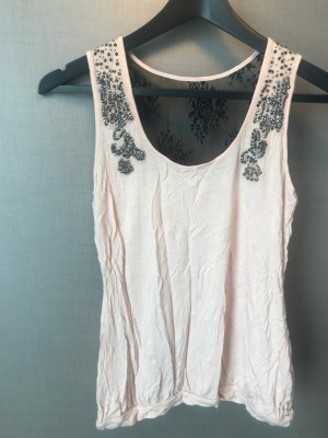 'Oasis' Pale Pink/Nude Beaded Vest Top - Size S