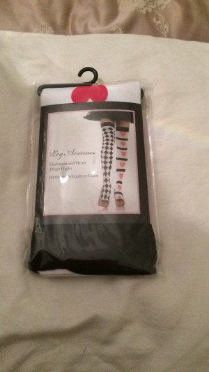 Harlequin and heart thigh highs