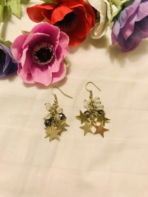 Gold star and bead cluster drop earrings