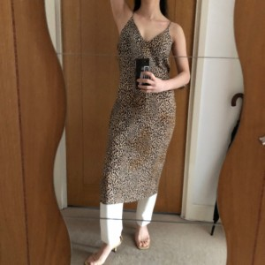 H&M camisol leopard fitted dress 8