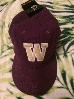 Purple and Gold 'W' For Washington baseball cap
