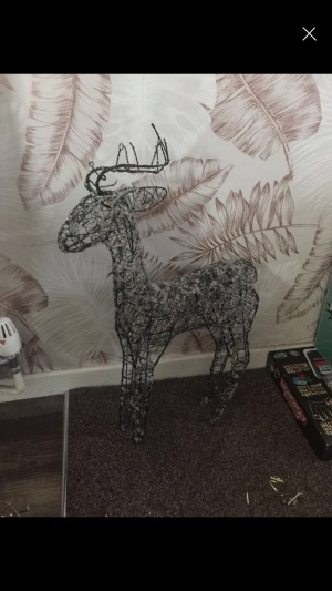 Metal glass stone twist reindeer floor standing ornament