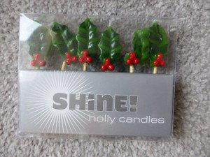NEW Mini Holly Candles (one broken)