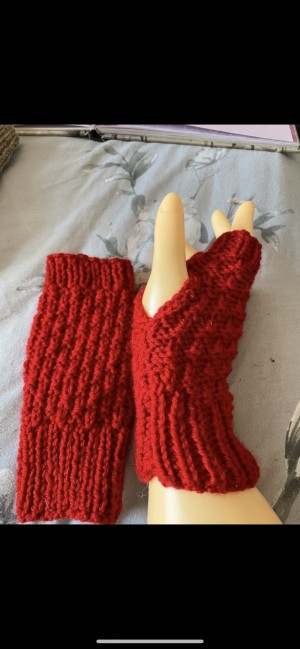 Red wool fingerless gloves