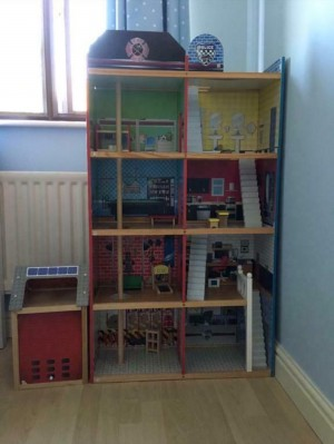 A fire and police station play set