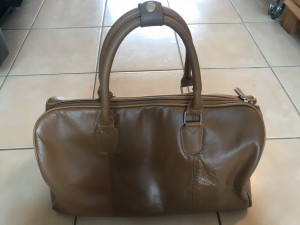 Vintage real leather hold-all 43cm W by 26cm H by 47.5cm B