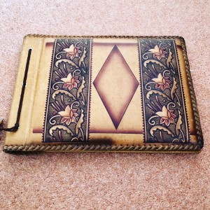 Vintage Embossed Art Deco Floral Cover Photo Album Light Tanned Brown