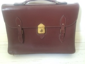 Second hand brown leather office bag