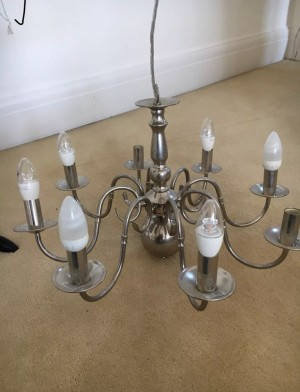 Chandelier x8 bulb with white lampshades included £2 delivery locally