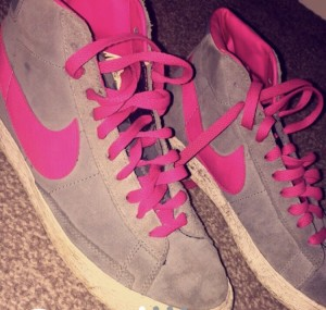 Size 5.5 pink and grey Nike blazers!