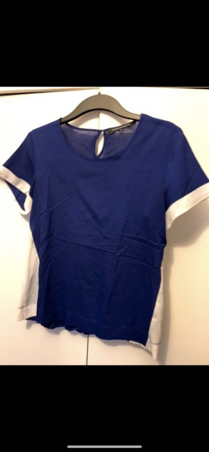 French Connection blue and white T-shirt blouse with cuffs and panelli