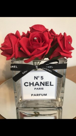 Chanel inspired vase and foam flowers