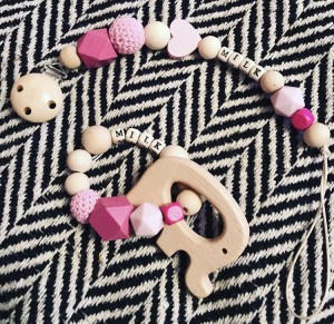 Baby girl personalised natural wood handmade dummy clip & teether gift set