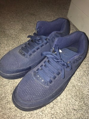 navy blue Nike air flight squad trainers