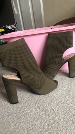 Primark open toe and heel boots, khaki green, size 5