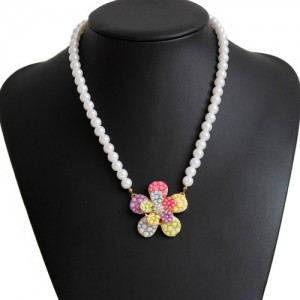 Pearl and Multi-beaded Flower Pendant Necklace