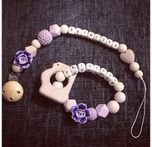 Baby girl purple rose edition personalised dummy clip and teether gift set