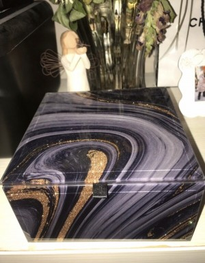 Marble Jewellery box with Gold sparkles
