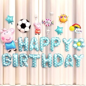 Peppa Pig Happy Birthday Balloons Set-Football