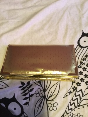 Ladies Gold Clutch Bag With Stars On Front