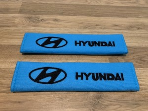 2X Seat Belt Pads Cotton Blue Gifts Hyundai I i 10 20 30 40 IX 20 35 T