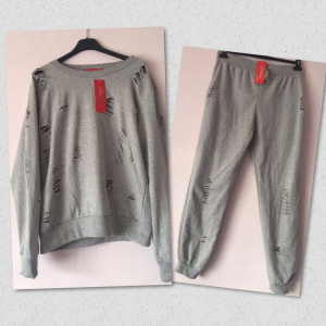 Brand New Ladies Grey distressed tracksuit size S/M