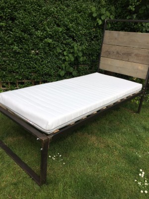 Single bed, used, reclaimed wood and steel (mattress also for sale)