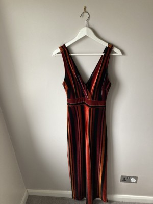 Stripy velvet jumpsuit uk6