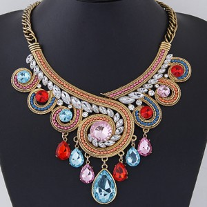 Stunning Multi-Coloured Bib Statement Necklace