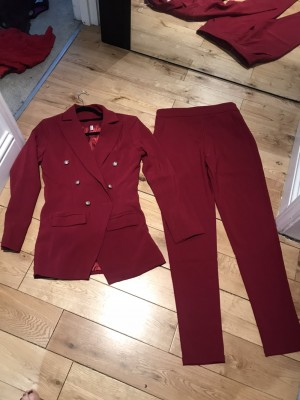 Wine red military style gold buttons trousers blazer 10 1 button miss