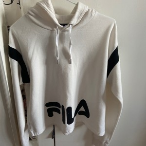 cream and black Fila cropped hoodie size small.