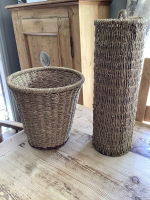 Wicker toilet roll holder and bin
