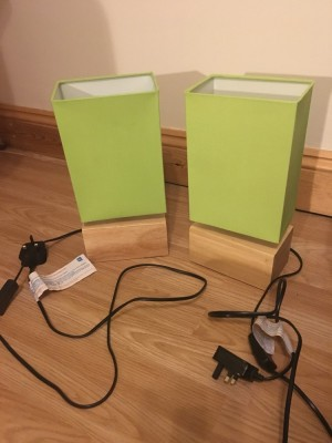 Two green lamps