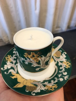 Small teacup candle lily of the valley scent