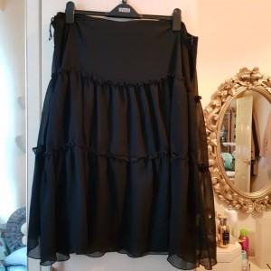 Black Crepe Gypsy Skirt with lining Size 22