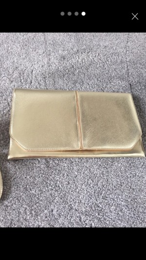 Lovely gold shoes and clutch. Size 4. New