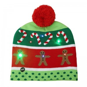 LED Light Knitted Christmas Warm Hat Gingerbread Man Adult