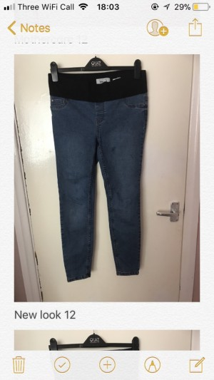 New Look Maternity under the bump jeans size 10