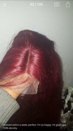 red lace front human hair wig
