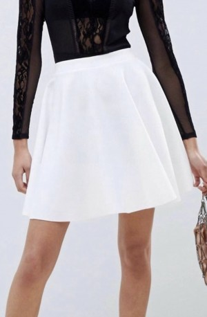 White ASOS scuba mini skirt