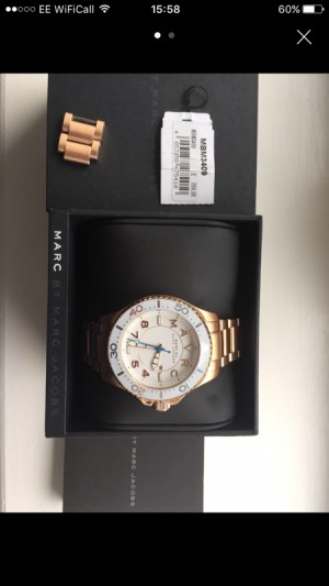Marc jacobs rose gold white faced watch