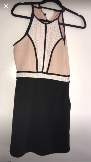 Peach, white and black dress size 12