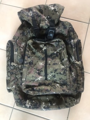 Large backpack 60cm by 51cm with several zip lock pockets adjustable s