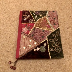 Hand Sewn Beaded Fabric Collage Embellished Silk Handmade Cover Journa