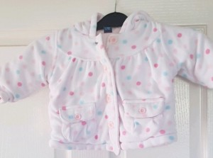 Girls White Spotted Jacket 6-9 Months
