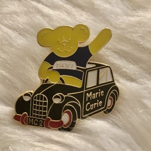 Cute Marie Curie Bear in Taxi Swag Style Badges Funky Pin Brooch Metal